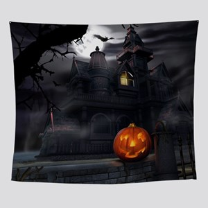 Halloween Pumpkin And Haunted House Wall Tapestry