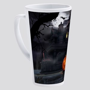 Halloween Pumpkin And Haunted Hous 17 oz Latte Mug