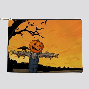 Halloween Scarecrow With Pumpkin Head Makeup Bag