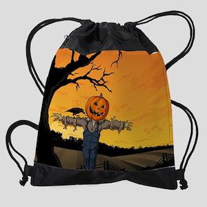 Halloween Scarecrow With Pumpkin He Drawstring Bag