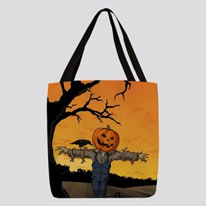 Halloween Scarecrow With Pumpki Polyester Tote Bag