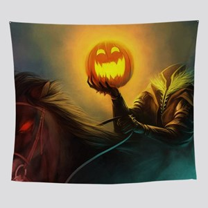 Rider With Halloween Pumpkin Head Wall Tapestry