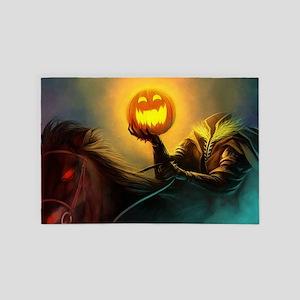 Rider With Halloween Pumpkin Head 4' x 6' Rug