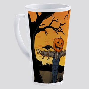 Halloween Scarecrow With Pumpkin H 17 oz Latte Mug