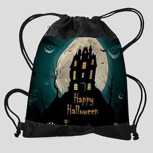 Happy Halloween Castle Drawstring Bag