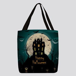 Happy Halloween Castle Polyester Tote Bag