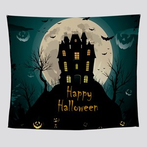 Happy Halloween Castle Wall Tapestry