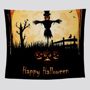 Happy Halloween Scarecrow Wall Tapestry