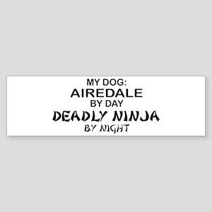 Airedale Deadly Ninja Bumper Sticker