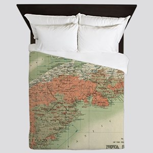 Vintage Geological Map of Nova Scotia Queen Duvet