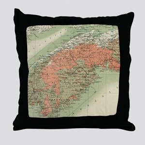 Vintage Geological Map of Nova Scotia Throw Pillow
