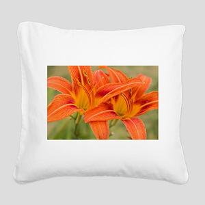 Orange Lilies Square Canvas Pillow