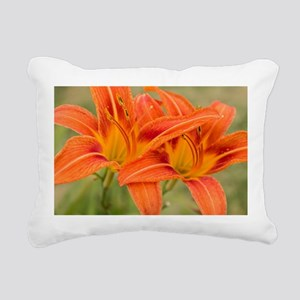 Orange Lilies Rectangular Canvas Pillow