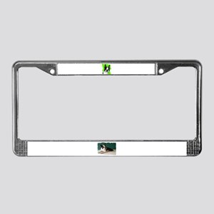 boston terrier dog in bubbles License Plate Frame