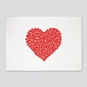 Paw Print Heart 5'x7'Area Rug