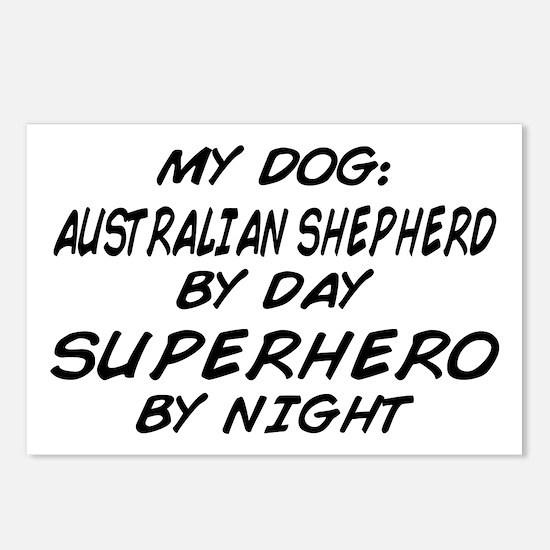Australian Shepherd Superhero Postcards (Package o