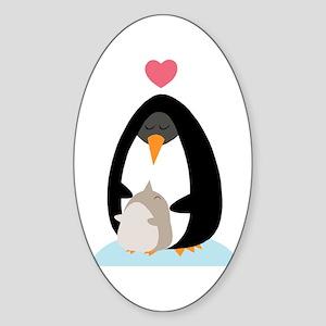 Penguin Love Oval Sticker