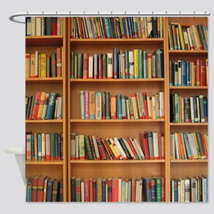 Bookshelf Books Library Bookworm Re Shower Curtain