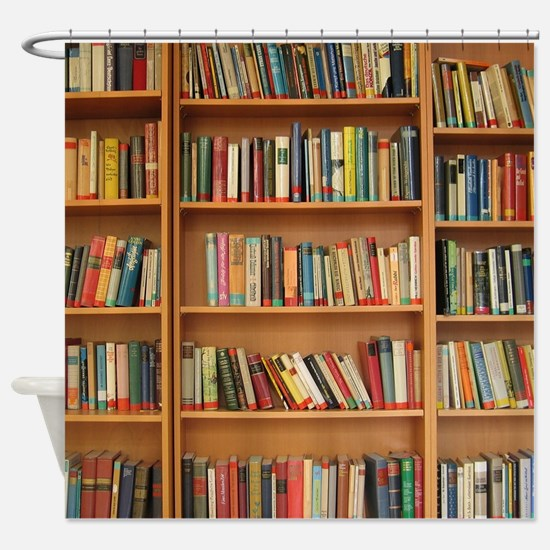 Bookshelf Books Library Bookworm Re Shower Curtain