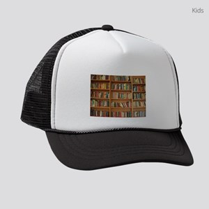 Bookshelf Books Library Bookworm Kids Trucker hat