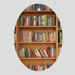 Bookshelf Books Library Bookworm Rea Oval Ornament