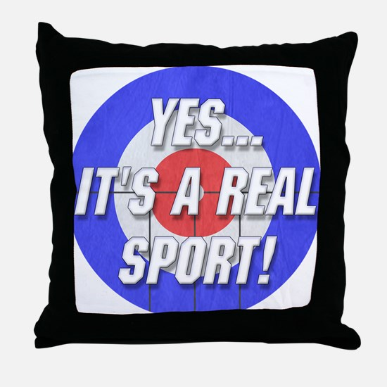 A Real Sport! Curling Throw Pillow