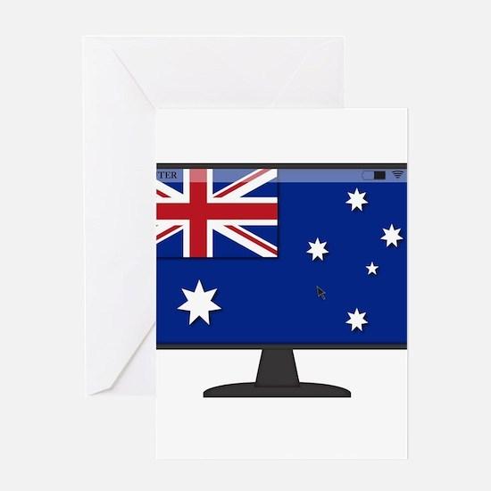 Australian Computer Flag Greeting Cards