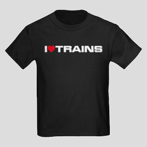 I Love Trains Kids Dark T-Shirt