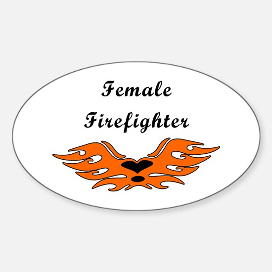 Female Firefighting Oval Decal