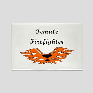 Female Firefighting Rectangle Magnet
