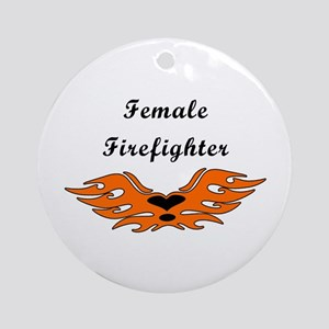 Female Firefighting Ornament (Round)
