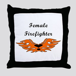 Female Firefighting Throw Pillow