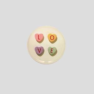 Retro Candy Hearts Love Mini Button