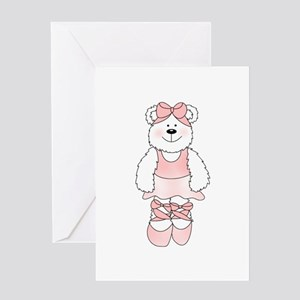 PINK BALLERINA BEAR Greeting Card