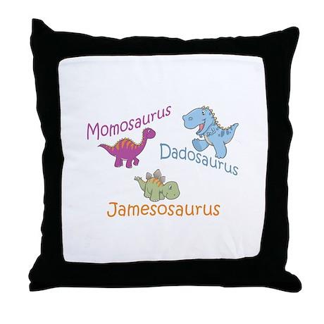 Mom, Dad & Jamesosaurus Throw Pillow