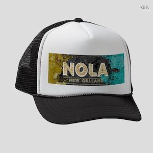 NOLA New Orleans Black Gold Turqu Kids Trucker hat