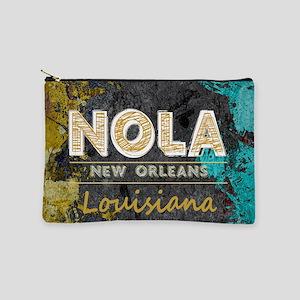 NOLA New Orleans Black Gold Turquoise G Makeup Bag