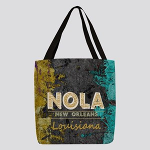 NOLA New Orleans Black Gold Tur Polyester Tote Bag