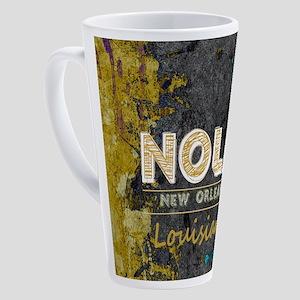 NOLA New Orleans Black Gold Turquo 17 oz Latte Mug