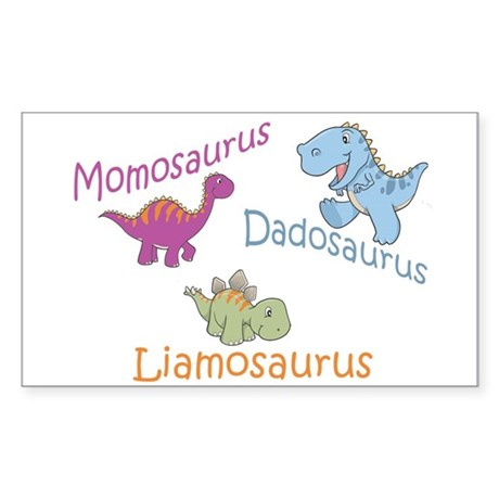 Mom, Dad & Liamosaurus Rectangle Sticker