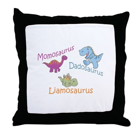 Mom, Dad & Liamosaurus Throw Pillow