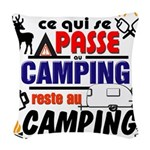 au camping reste au camping Woven Throw Pillow