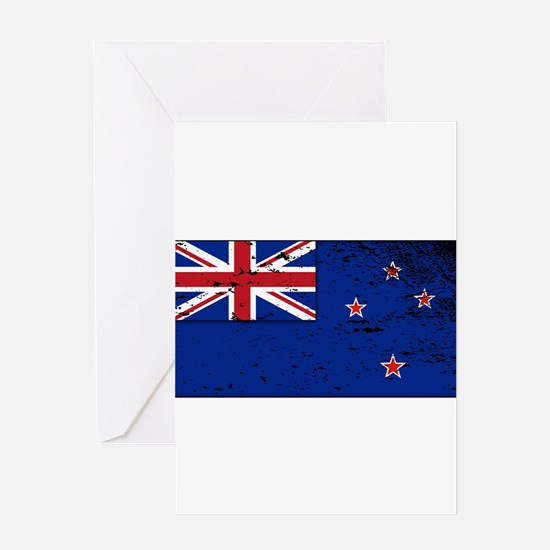 New Zealand Flag Grunged Greeting Cards