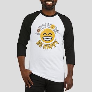 Emoji Donut Worry Be Happy Baseball Tee