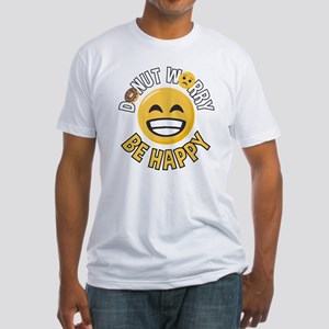 Emoji Donut Worry Be Happy Fitted T-Shirt
