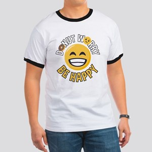 Emoji Donut Worry Be Happy Ringer T
