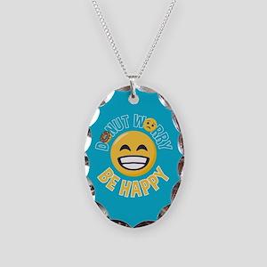 Emoji Donut Worry Be Happy Necklace Oval Charm