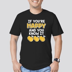 Emoji If You're Happy Men's Fitted T-Shirt (dark)
