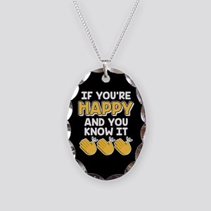 Emoji If You're Happy Clap Necklace Oval Charm