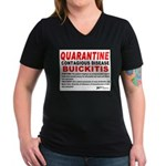 Quarantine, Buickitis Women's V-Neck Dark T-Shirt